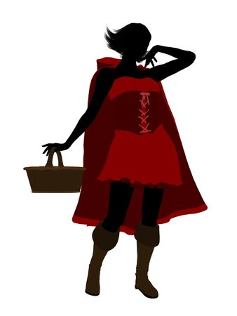 Little Red Riding Hood illustration silhouette on a white background Stock Illustration - 6586856