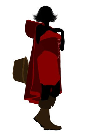 Little Red Riding Hood illustration silhouette on a white background Stok Fotoğraf - 6586718