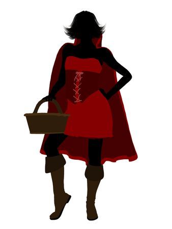 Little Red Riding Hood illustration silhouette on a white background Stock Illustration - 6586841