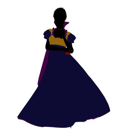 seven dwarfs: Snow White illustration silhouette on a white background