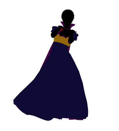 seven dwarfs: Snow White illustration silhouette on a white background