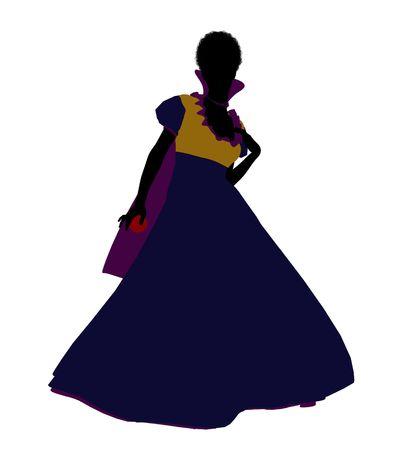 sleepy woman: Snow White illustration silhouette on a white background