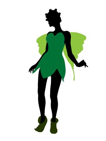 tinker bell: Tinker Bell illustration silhouette on a white background