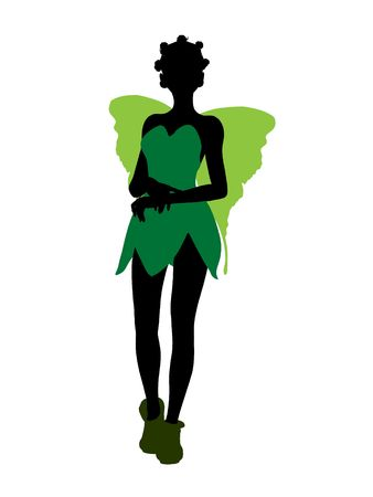 tock illustration: Tinker Bell illustration silhouette on a white background