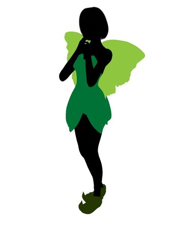 tinker: Tinker Bell illustration silhouette on a white background