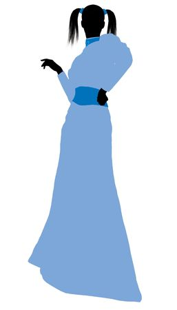 Wendy of Peter Pan illustration silhouette on a white background