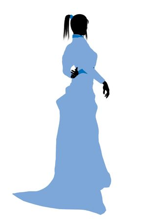 tock illustration: Wendy of Peter Pan illustration silhouette on a white background