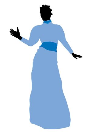 st  bernard: Wendy of Peter Pan illustration silhouette on a white background