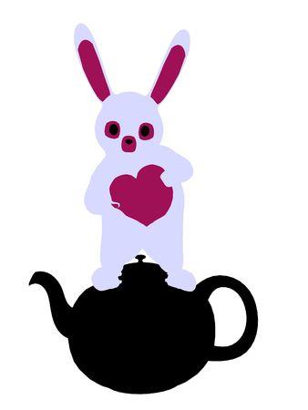 cheshire cat: Conejo blanco de allice en silueta de ilustraci�n de las maravillas sobre un fondo blanco