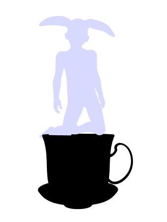 cheshire cat: Conejo blanco de allice en silueta de ilustraci?n de las maravillas sobre un fondo blanco