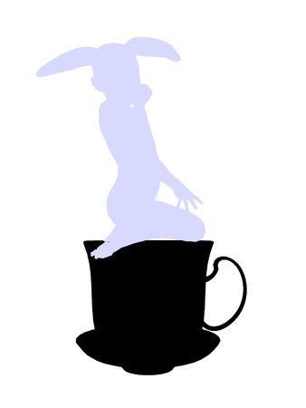 wit konijn: White rabbit from allice in wonderland illustration silhouette on a white background