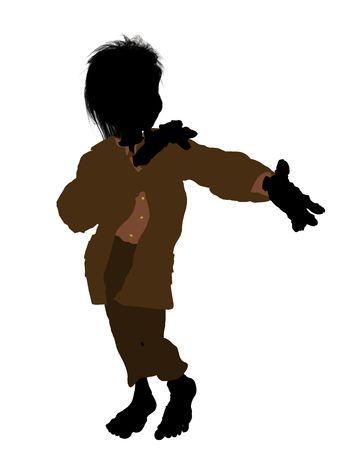 seven dwarfs: Dwarf illustration silhouette on a white background Stock Photo