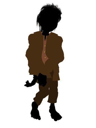 sleepy woman: Dwarf illustration silhouette on a white background Stock Photo