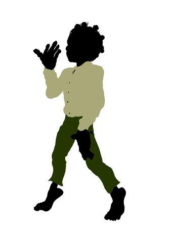 Dwarf illustration silhouette on a white background Stock Photo