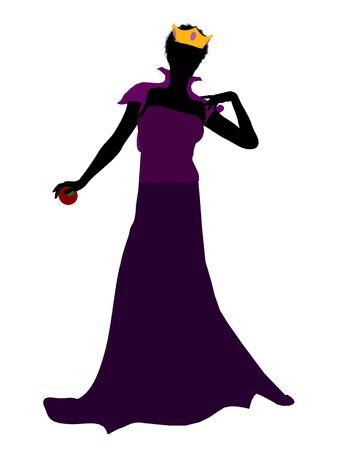 seven dwarfs: Evil queen illustration silhouette on a white background