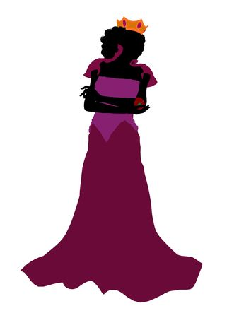 sleepy woman: Evil queen illustration silhouette on a white background