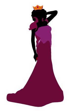 seven dwarfs: Evil queen illustration silhouette on a white background