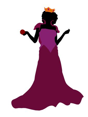 Evil queen illustration silhouette on a white background
