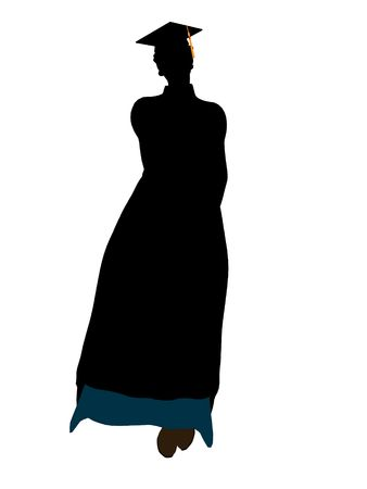 African american graduate silhouette on a white background