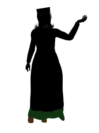 Graduate silhouette on a white background Imagens