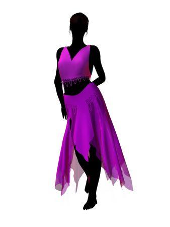 Silhouette di illustrazione delle fiabe Aladdin su sfondo bianco Archivio Fotografico - 6664698