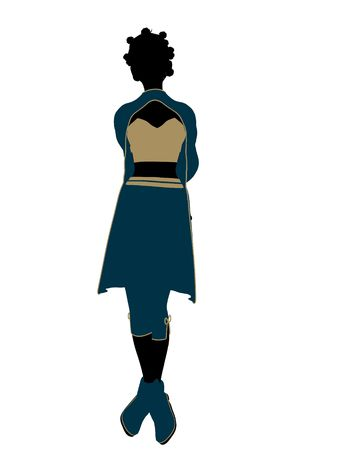 Aladdin fairytale illustration silhouette on a white background Stock Photo