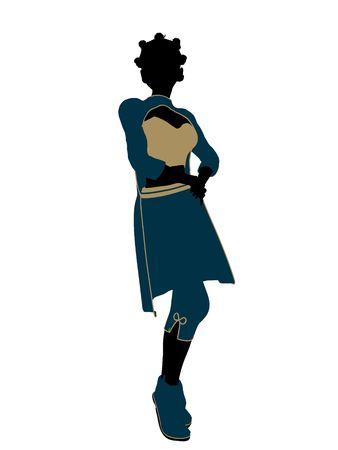 genie woman: Aladdin fairytale illustration silhouette on a white background Stock Photo