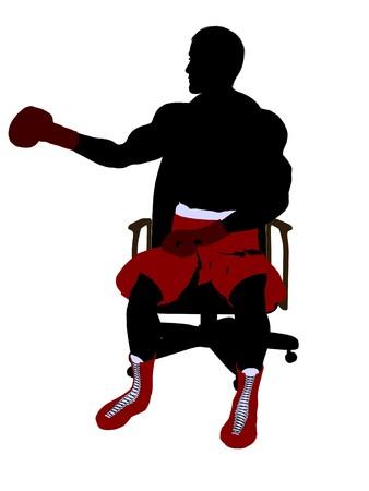 Boxer uomo seduto su una sedia arte illustrazione silhouette su uno sfondo bianco Archivio Fotografico - 6899313
