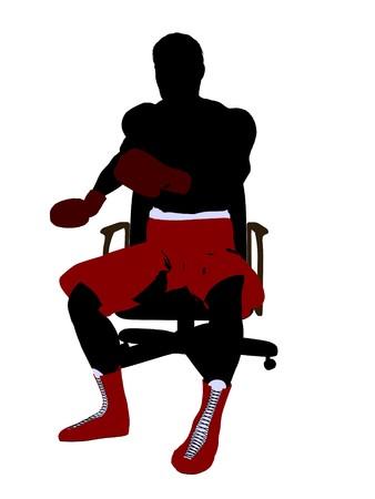 Boxer maschile seduto su una silhouette di illustrazione arte sedia su sfondo bianco Archivio Fotografico - 6899457