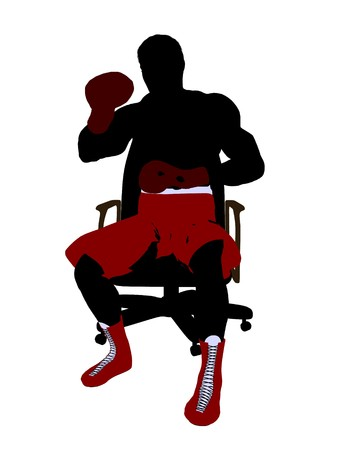 male boxer: Male boxer sitting on a chair art illustration silhouette on a white background Stock Photo