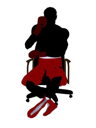 흰색 배경에 자 예술 그림 실루엣에 앉아 남성 복 서 스톡 콘텐츠