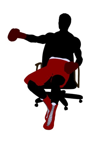 Male boxer sitting on a chair art illustration silhouette on a white background 스톡 콘텐츠