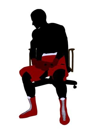 Boxer uomo seduto su una sedia arte illustrazione silhouette su uno sfondo bianco Archivio Fotografico - 6899732