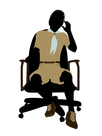 African american boyscout sitting in a chair silhouette dressed in shorts on a white background Stock Photo - 6899320