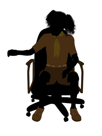girl scout: Girl scout sitting on A Chair silhouette dressed in shorts on a white background Stock Photo