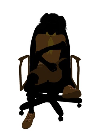 Girl scout sitting on A Chair silhouette dressed in shorts on a white background Stock fotó