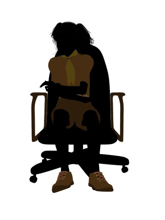 Girl scout sitting on A Chair silhouette dressed in shorts on a white background photo