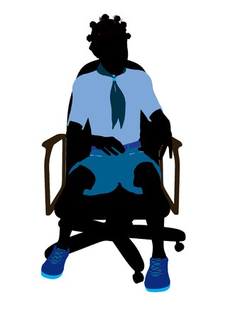 girl scout: African american girl scout sitting in a chair silhouette dressed in shorts on a white background