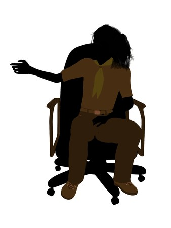girl scout: Girl scout sitting in a chair silhouette dressed in shorts on a white background Stock Photo