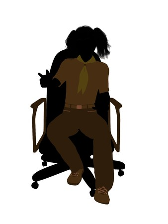 Girl scout sitting in a chair silhouette dressed in shorts on a white background Stock fotó