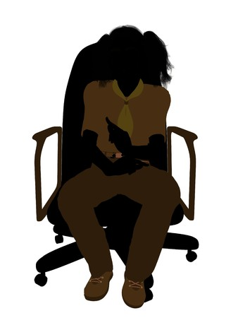 Girl scout sitting in a chair silhouette dressed in shorts on a white background photo