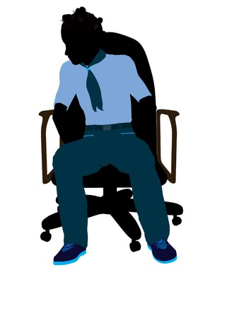 African american girl scout sitting in a chair silhouette dressed in shorts on a white background photo