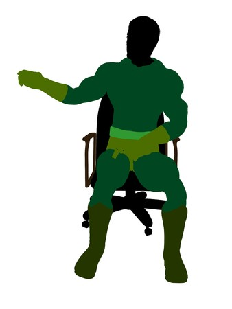 supervillians: Male  sitting on a chair silhouette dressed in shorts on a white background Stock Photo
