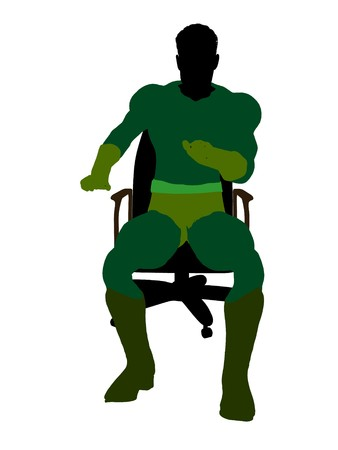 supervillians: Male sitting on a chair silhouette dressed in shorts on a white background