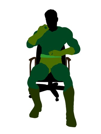 archnemesis: Male  sitting on a chair silhouette dressed in shorts on a white background Stock Photo