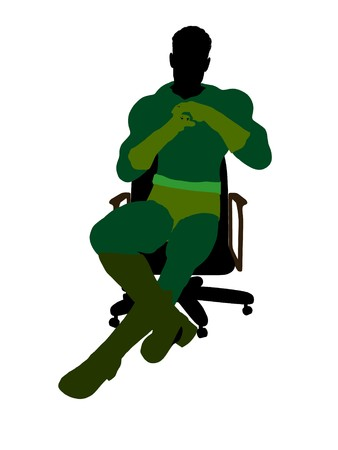 archnemesis: Male sitting on a chair silhouette dressed in shorts on a white background