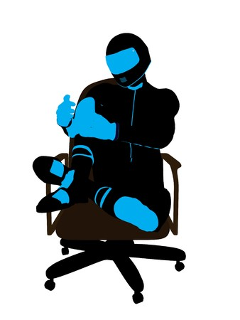 A male biker sitting in a chair silhouette on a white background