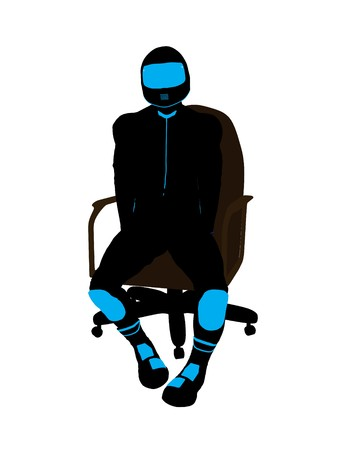 dirt bike: A male biker sitting in a chair silhouette on a white background