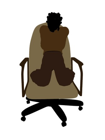 African American female teenager sitting in a chair silhouette on a white background