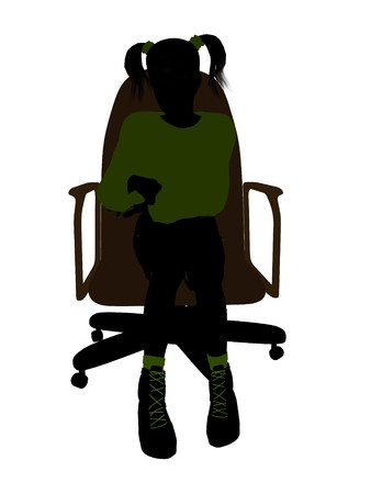 Female teenager sitting in a chair silhouette on a white background Stock Photo